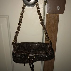 Brown Rampage Purse with Gold braided strap